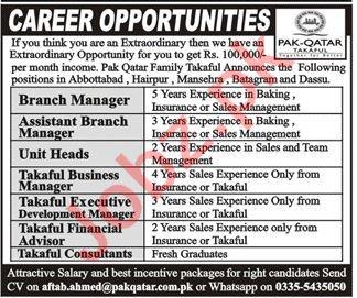 Pak Qatar Takaful KPK Jobs 2021 for Branch Manager