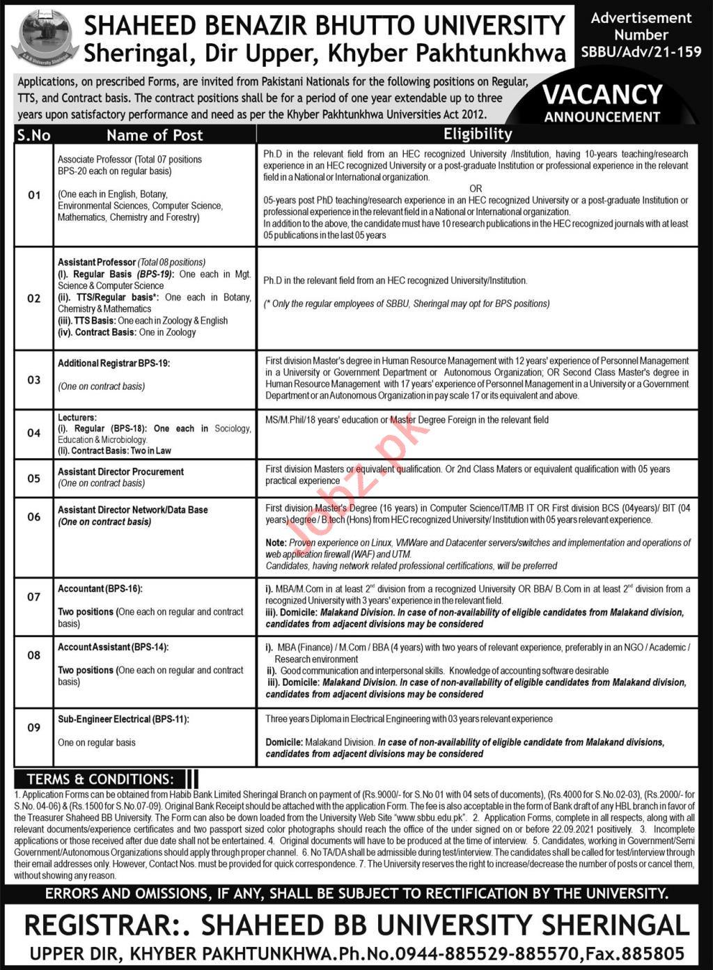 Shaheed Benazir Bhutto University SBBU Sheringal Jobs 2021