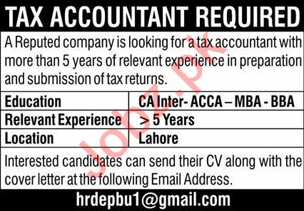 Tax Accountant & Accountant Jobs 2021 in Lahore