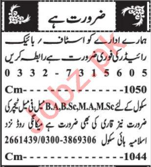 Bike Rider & Quran Teacher Jobs 2021 in Quetta
