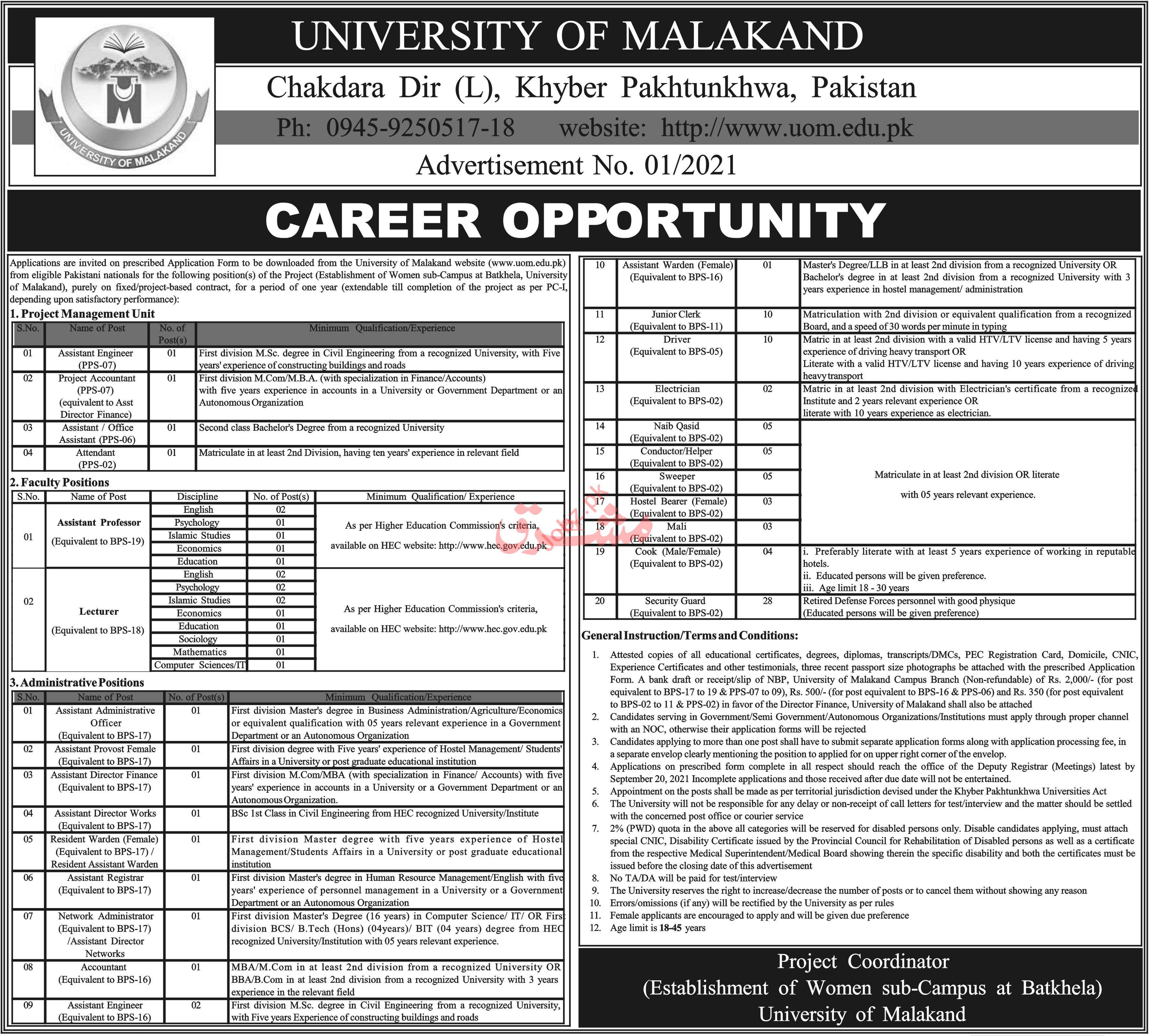 University of Malakand Jobs 2021 for Professors & Directors