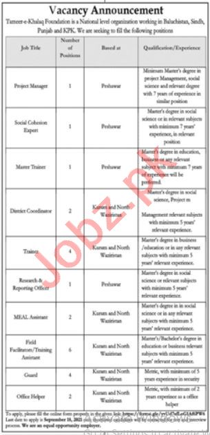 Tameer e Khalq Foundation Jobs 2021 for Project Manager