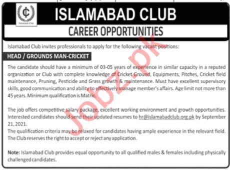 Islamabad Club Jobs 2021 for Head Grounds Man