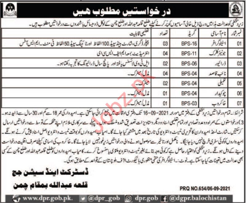 District & Session Court Chaman Jobs 2021 for Stenographer