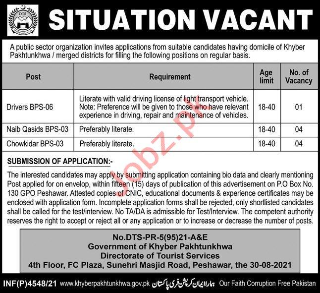 Directorate of Tourist Services DTS Peshawar Jobs 2021