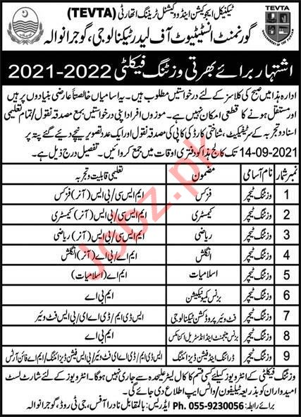 Government Institute of Leather Technology Gujranwala Jobs