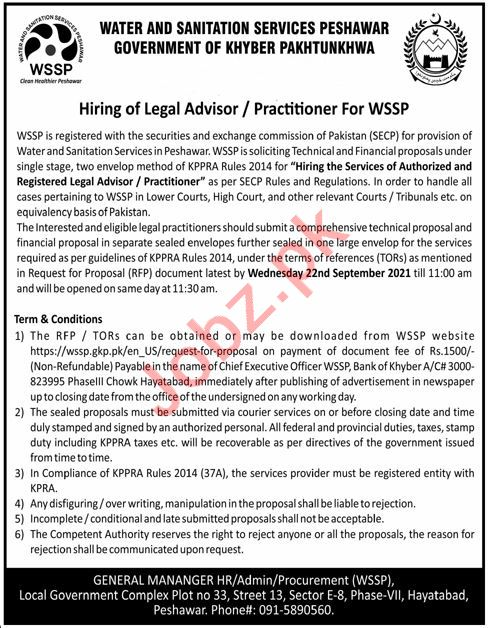 Water And Sanitation Services Peshawar WSSP Jobs 2021