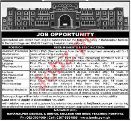 Bahawalpur Medical & Dental College BMDC Jobs 2021 Professor