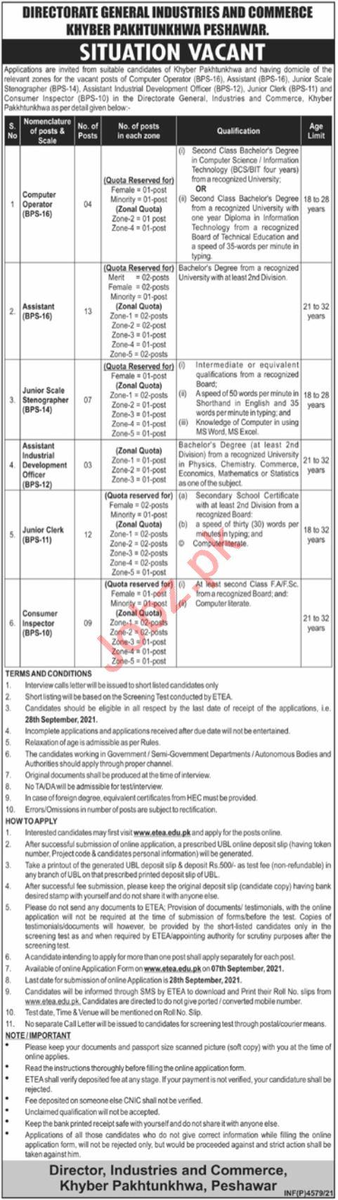 Directorate General Industries & Commerce Peshawar Jobs 2021