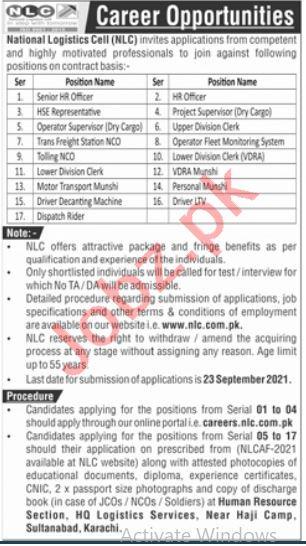 National Logistics Cell NLC Jobs 2021 HR Officer & Clerk