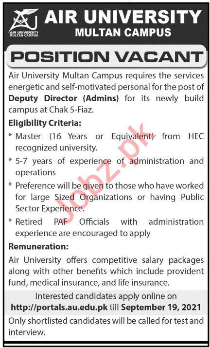 Air University Multan Campus AUMC Jobs 2021 for Professors