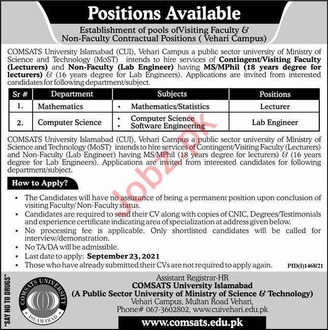 Comsats University Islamabad CUI Vehari Campus Jobs 2021