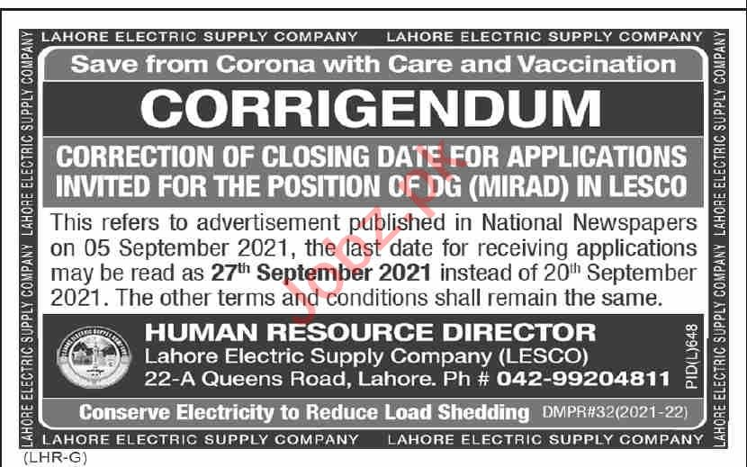 Lahore Electric Supply Company LESCO Jobs Director General