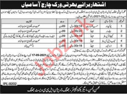 Jhang Canal Division LCC West Jobs 2021 for Chowkidar