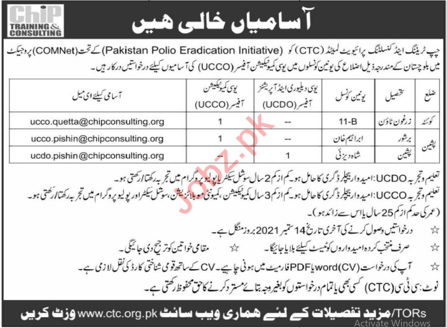 CHIP Training & Consulting CTC Quetta Jobs 2021 UCCO Officer