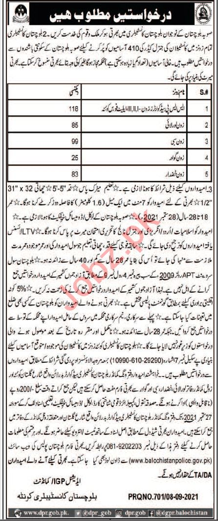 Balochistan Constabulary Quetta Jobs 2021 for Constables