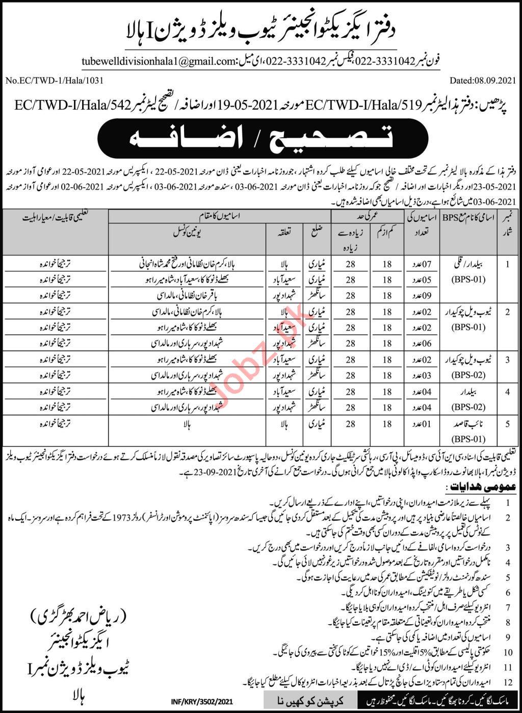 Tubewells Division Hala  Jobs 2021 Naib Qasid & Chowkidar