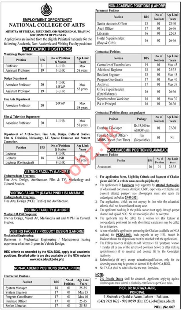 National College of Arts NCA Lahore Jobs 2021 for Professors