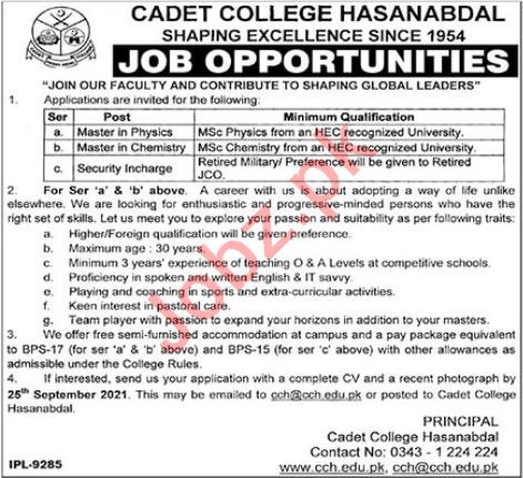 Cadet College Hasanabdal Jobs 2021 for Security Incharge