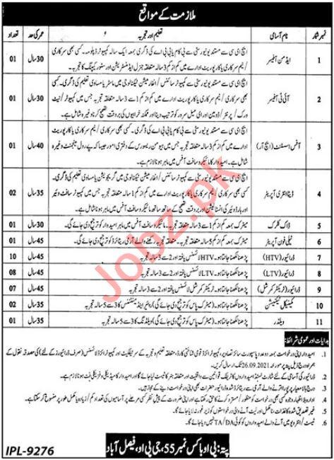 P O Box No 55 GPO Faisalabad Jobs 2021 for Admin Officer