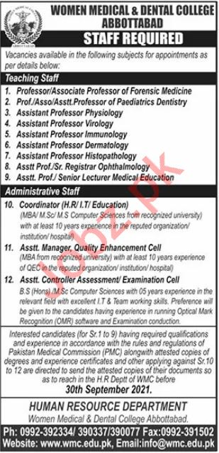 Women Medical & Dental College WMC Abbottabad Jobs 2021