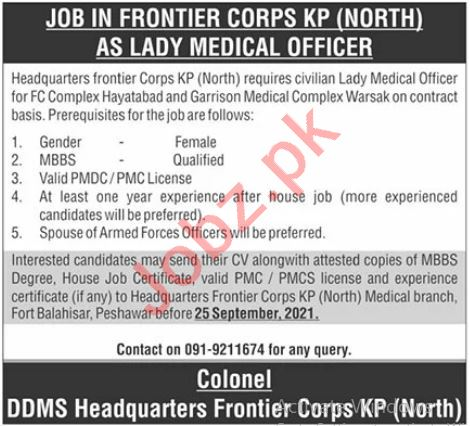 Frontier Corps FC KP North Peshawar Jobs 2021 Lady Doctor