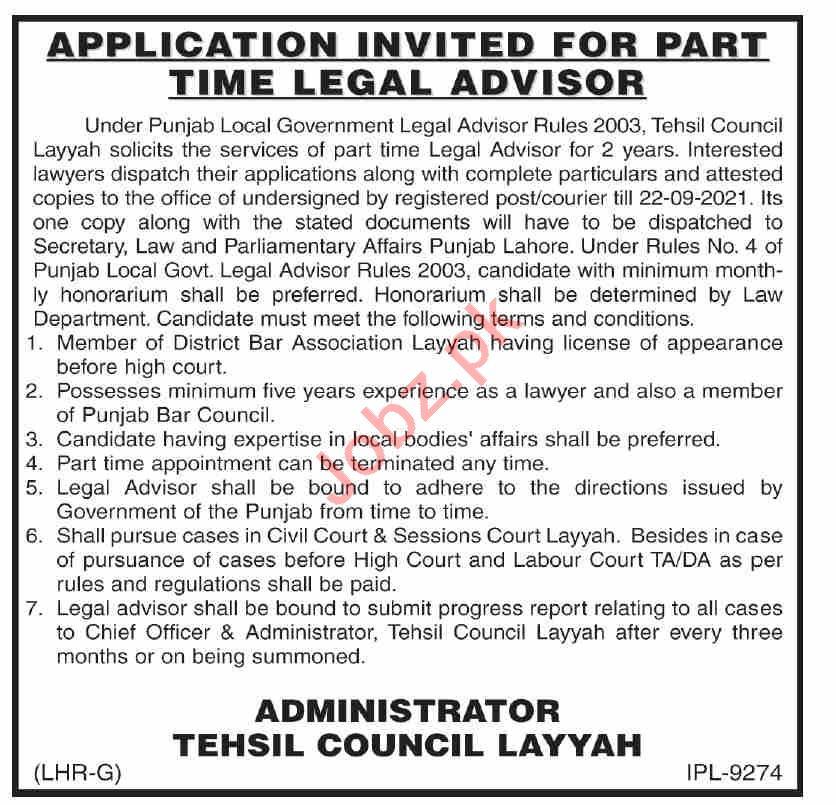 Legal Advisor Jobs 2021 in Tehsil Council Layyah
