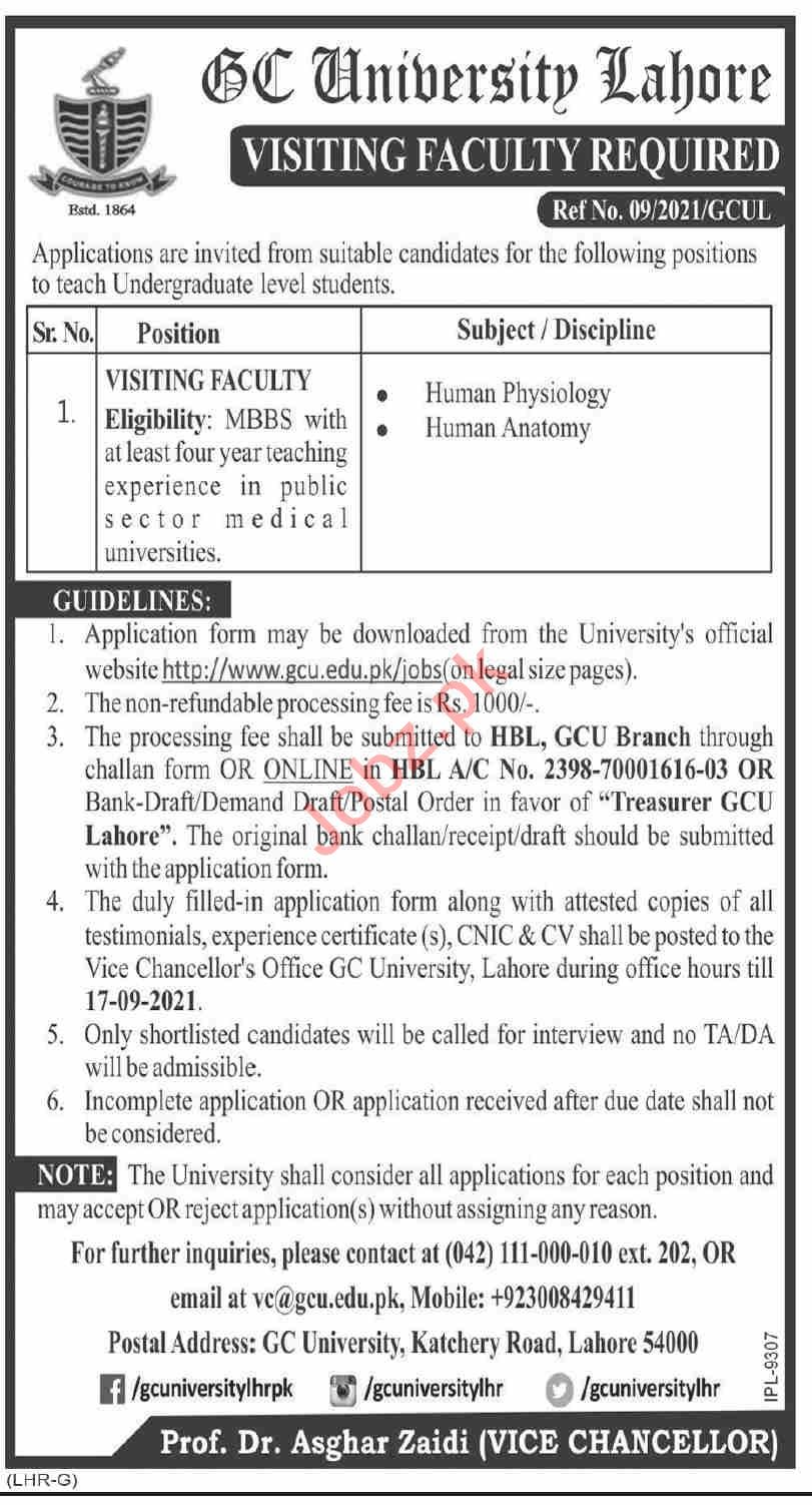 GC University Lahore Visiting Faculty Jobs 2021