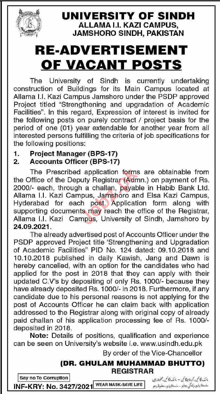 University of Sindh Jamshoro Campus Jobs 2021