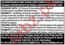 SLS Montessori and High School Jobs 2021