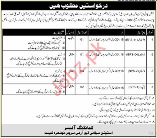 Station Supply Depot Army Service Nowshera Cantt Jobs 2021