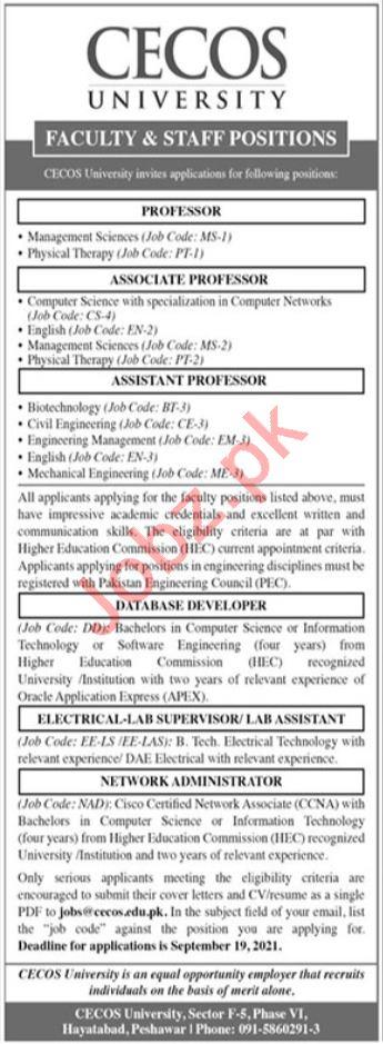 CECOS University Peshawar Jobs 2021