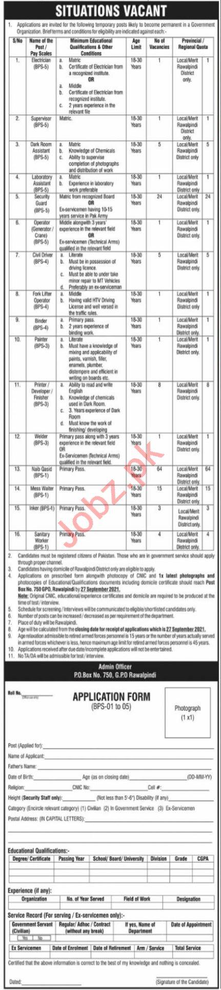 Government Organization Jobs 2021 In Rawalpindi