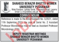 Shaheed Benazir Bhutto Women University Peshawar Jobs 2021