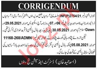 District & Session Court Bannu Naib Qaid & Driver Jobs 2021
