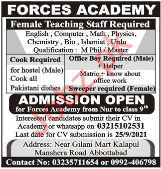 Teaching Staff Jobs in Forces Academy