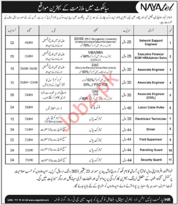 Nayatel Private Limited Jobs 2021 in Sialkot