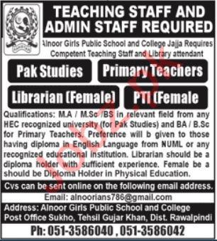 Teaching & Admin Staff Jobs 2021 In Rawalpindi
