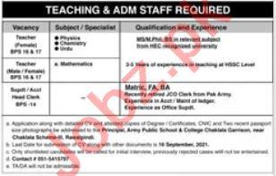 Army Public School & College Chaklala Garrison Jobs 2021