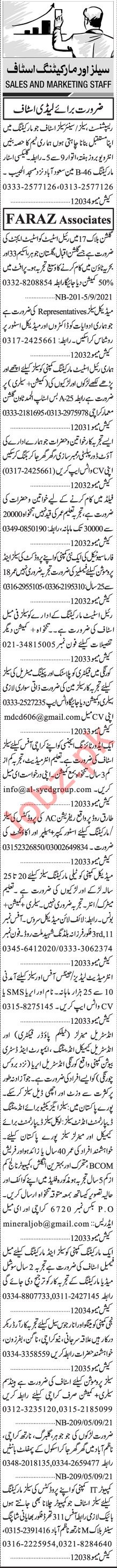 Jang Sunday Classified Ads 12 Sep 2021 for Sales Staff