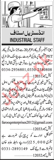 Jang Sunday Classified Ads 12 Sep 2021 for Industrial Staff