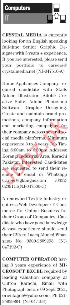 The News Sunday Classified Ads 12 Sep 2021 for IT Staff