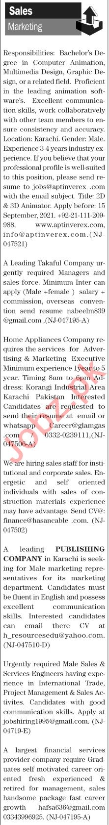 The News Sunday Classified Ads 12 Sep 2021 for Sales Staff