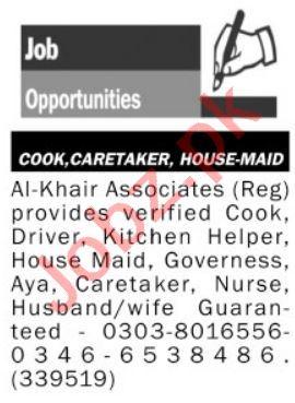 Al Khair Associates Jobs 2021 for House Maid & Cook