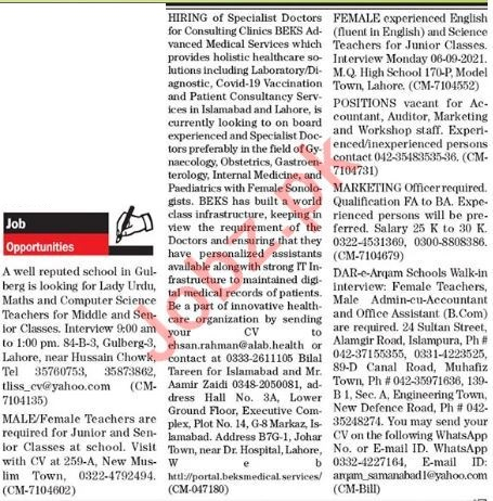 The News Sunday Classified Ads 12 Sep 2021 for Office Staff