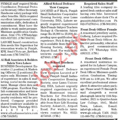 The News Sunday Classified Ads 12 Sep 2021 for General Staff