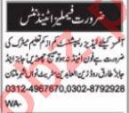 Nawaiwaqt Sunday Classified Ads 12 Sep 2021 for Ladies Staff
