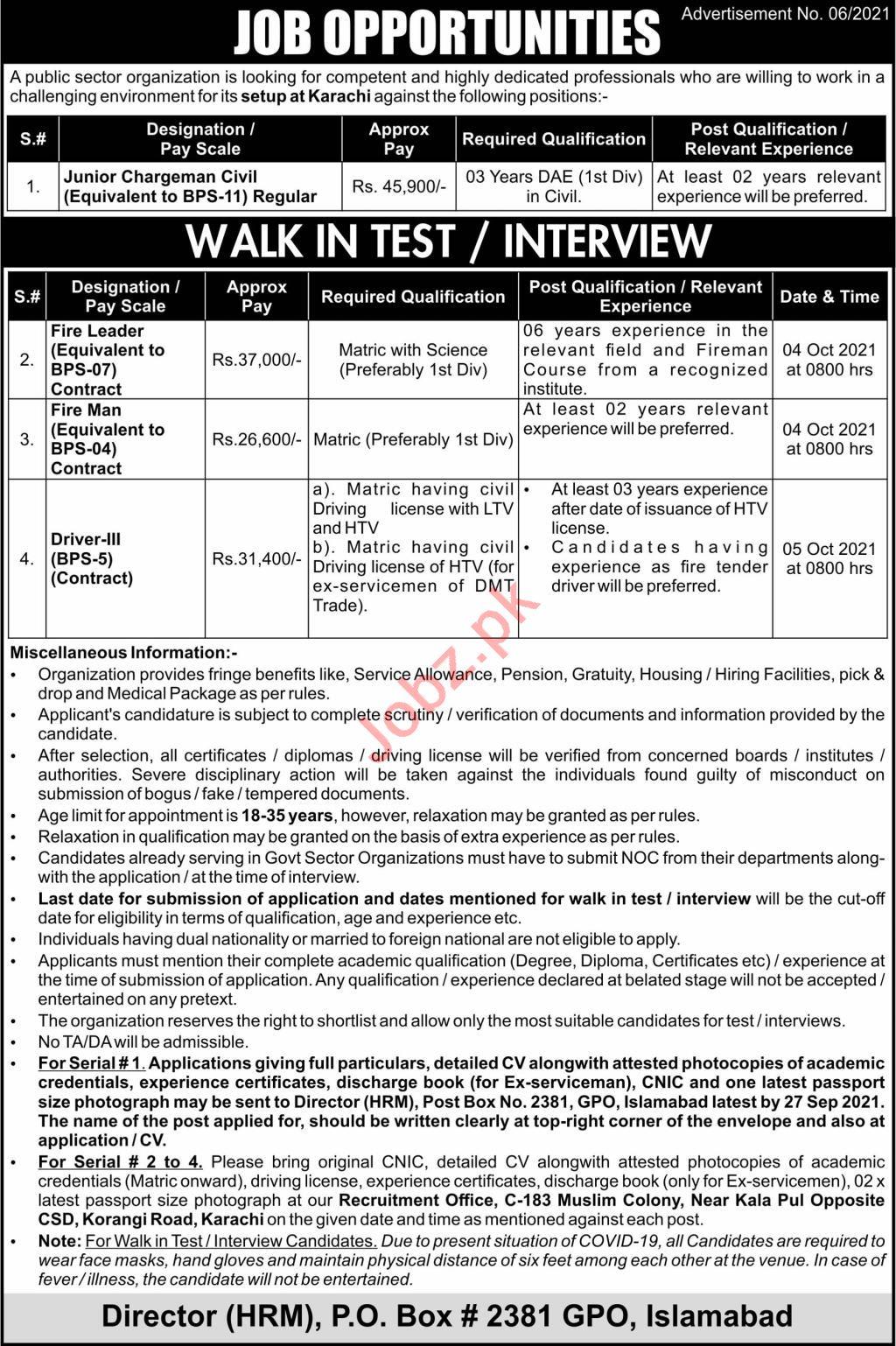 Public Sector Organization Jobs 2021 In Karachi