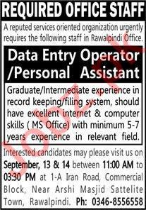 Office Staff Jobs 2021 In Rawalpindi Office