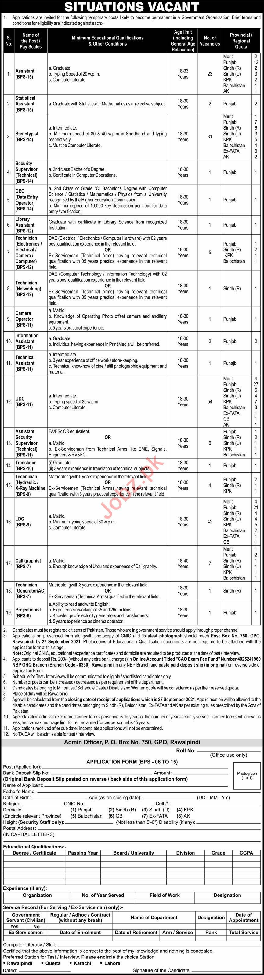 Government Organization Jobs 2021 For Management Staff